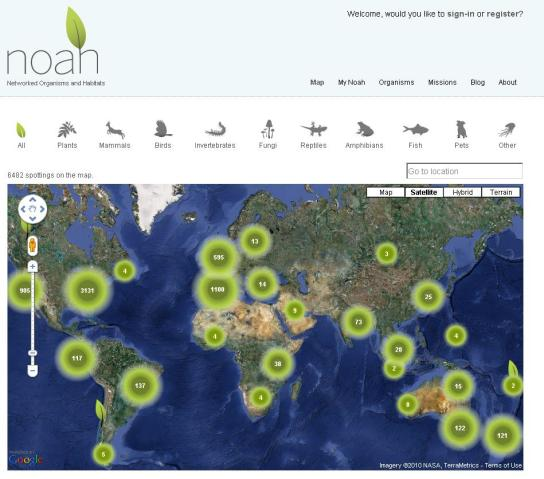 Project Noah map image - world map