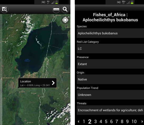 Figure 2. Freshwater Biodiversity Browser, allows the user to identify what species are in the sub-catchment they are located in the field.