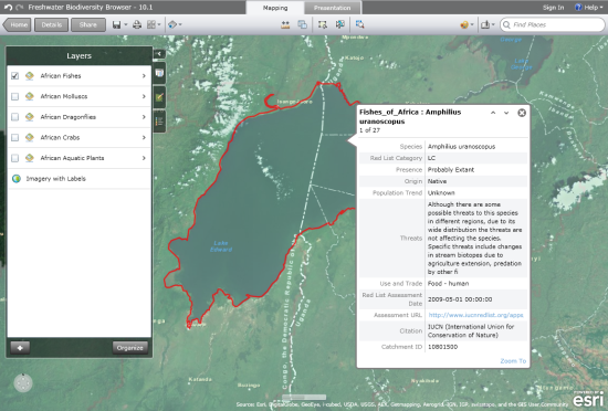 Figure 1. IUCN Freshwater Biodiversity Browser (African freshwater species so far), allows the user to identify what species (with information on Red List status, utilisation, threats etc) are in every sub-catchment across Africa.
