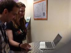 Dr Schmidt-Kloiber demonstrating the BioFresh Platform at BIH2013