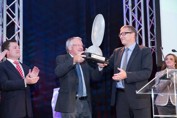 Awarding of the inaugural IRF European Riverprize to the River Rhine. Image courtesy ICPR.