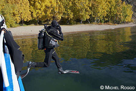 Michel Roggo diving into Lake Baikal