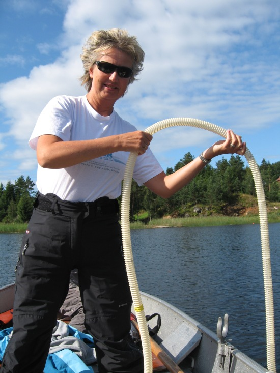 Anne taking samples from a Norwegian lake for the WISER project, 2009.