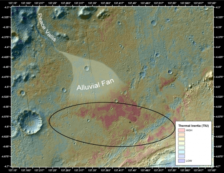 Alluvial fan in the Gale Crater - a sign of ancient flowing water.  Image: NASA/JPL-Caltech/ASU
