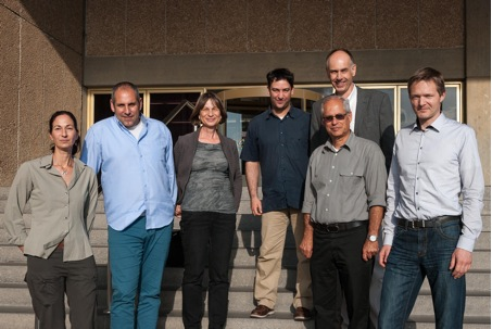 Collaboration at the symposium: Dr. Dana Milstein (Israel Nature and Park Authority), Alon Zask (Israel Ministry of Environmental Protection), Prof. Tamar Dayan, Dr. Yaron Hershkovitz, Prof. Avital Gasith (Tel Aviv University), Dr. Christian Feld (back) und Dr. Armin Lorenz (University of Duisburg-Essen) (from left to right). (Image: Christian Feld)