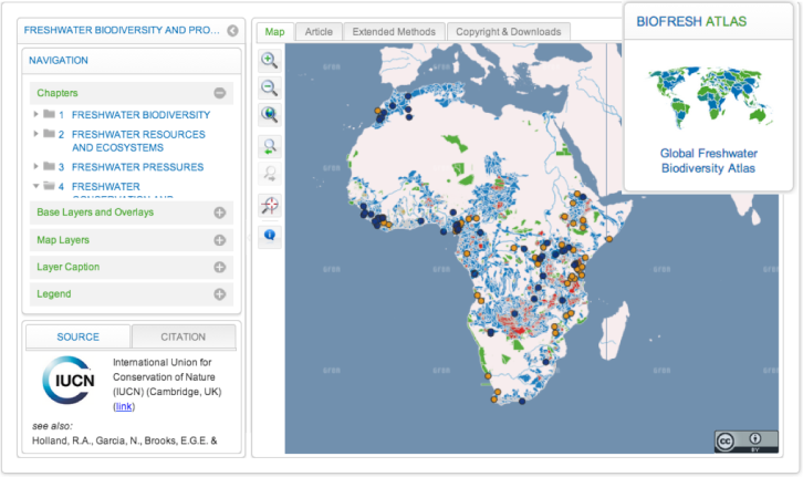 Freshwater biodiversity and protected areas in Africa: a gap analysis. Source:http://atlas.freshwaterbiodiversity.eu/