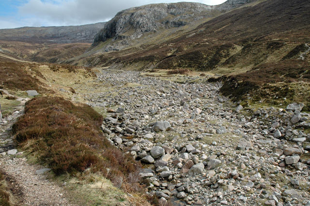 The Allt nan Uamh in Scotland.  The river flows mostly underground through limestone caves, although the size of the boulders in the channel show how powerful spate flows can be.  Image: Wikimedia