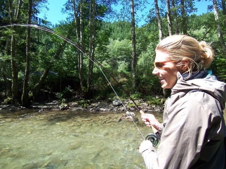Rafaela out flyfishing on the river