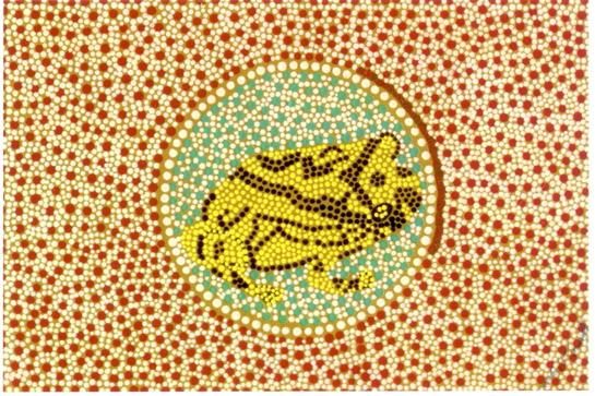 Aboriginal spot painting of Tiddalik the frog.  Image: balyat.blogspot.com