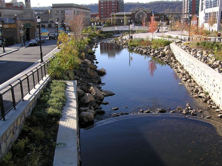 Buried underground for nearly a century, the Saw Mill River in Yonkers, NY in the USA has been daylighted in a $19 million programme, providing new habitat for a variety of life including the migratory American eel.  Image: Wikipedia.
