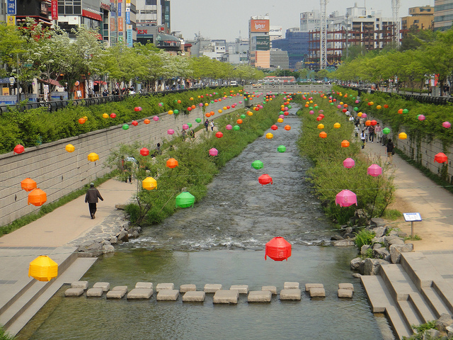 Cheonggyecheon Stream in Seoul, decorated for the Lotus Lantern Festival.  Image: Emily Orpin