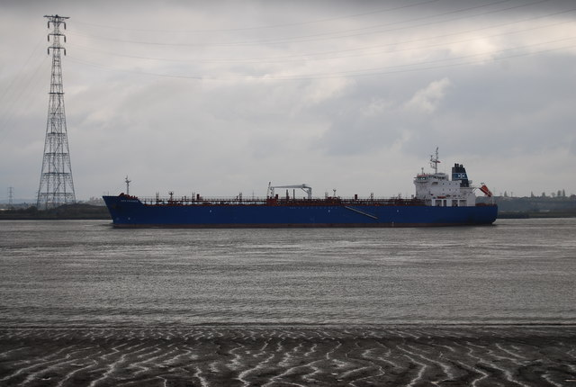 Ship sailing down the Thames estuary past a chemical works.  Image: N Chadwick | Creative Commons Licence