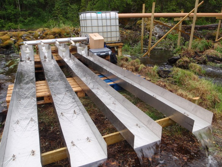 NIVA experimental flumes for studying extreme flows in Nordic Rivers.  Image: Susi Schneider