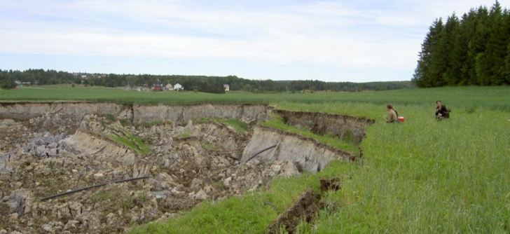 Landslide in the Vansjø catchment in 2005.  Image: Eva Skarbøvik