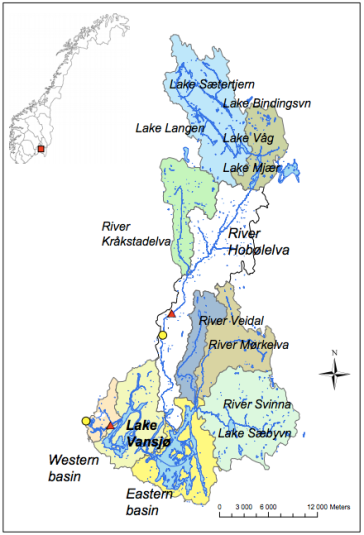 Map of the Vansjø-Hobøl Catchment, Norway.  Image: Skarbøvik and Bechmann (2010). Bioforsk Report vol. 5