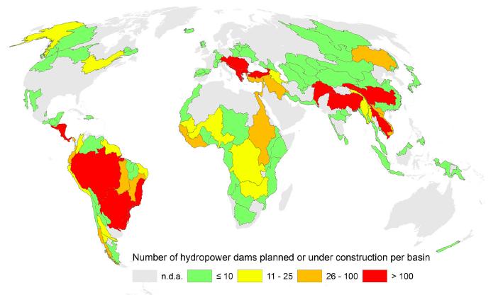 Map (2): Number of future hydropower dams per major river basin. Image Zarfl et al (2014)