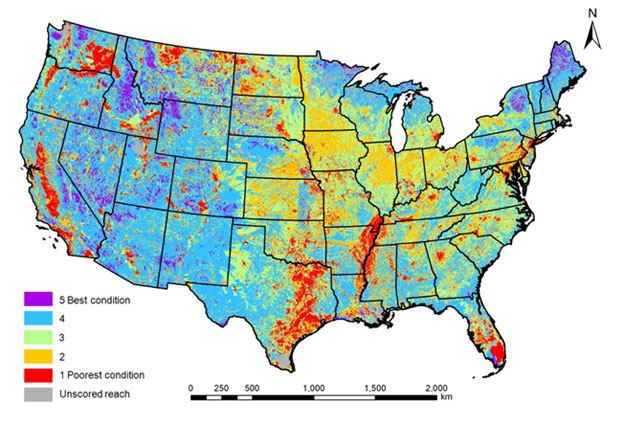 US National Fish Habitat Assessment map